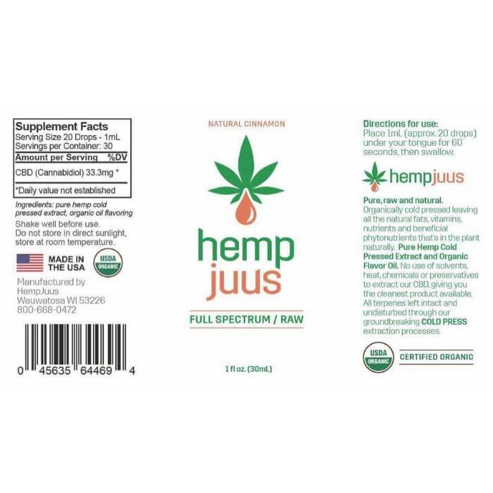 Hempjuus CBD Cinnamon Cold Pressed Tincture