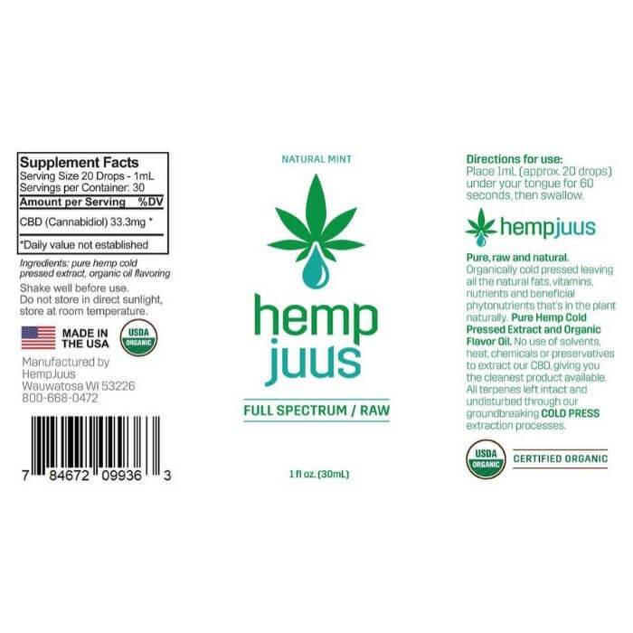 Hempjuus CBD Mint Cold Pressed Tincture