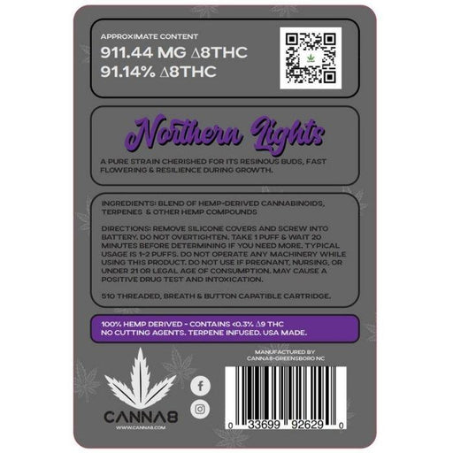 CBD Northern Lights Indica Delta 8 Vape Cartridges by Canna8