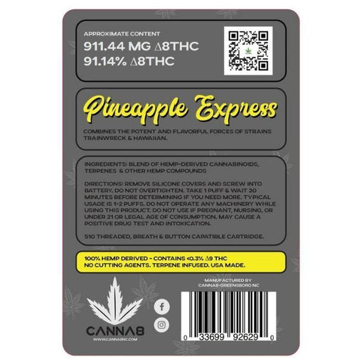 CBD Pineapple Express Sativa Delta 8 Vape Cartridges by Canna8