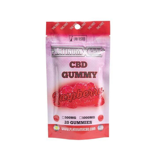 500MG Raspberry CBD Gummies by Platinum X CBD