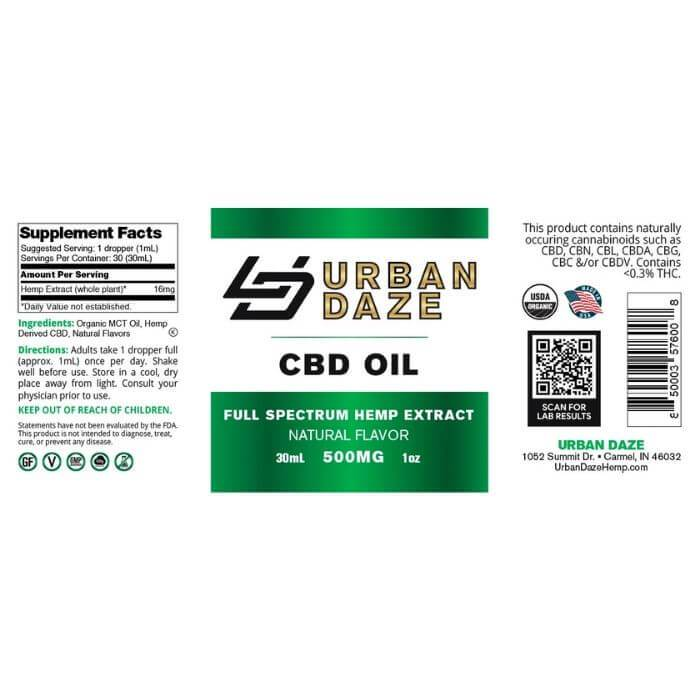 Urban Daze CBD Full Spectrum Hemp Tincture