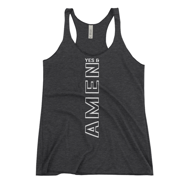 """Yes and Amen"" Women's Tank - Charcoal Black - Divine Design Fitness"