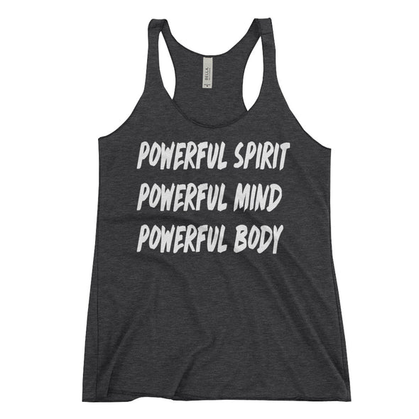 """Powerfull Spirit, Mind, Body"" Womans Tank - Divine Design Fitness"