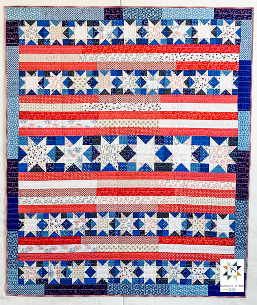 Snowflakes in July by Julie Burton of Running Stitch Quilts, the scrappy variation