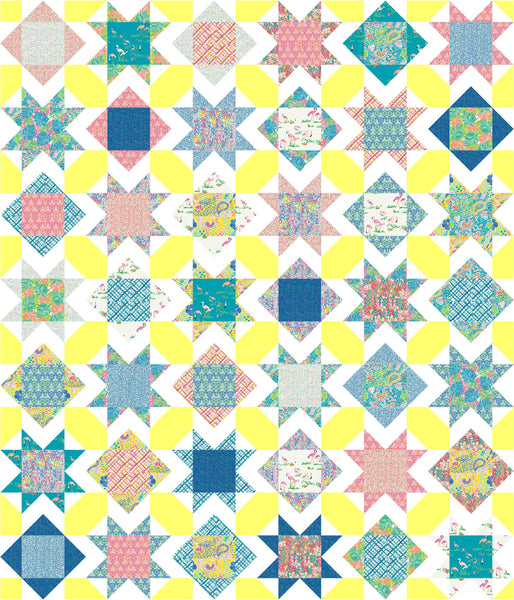Square Burst quilt pattern, cornerstones version