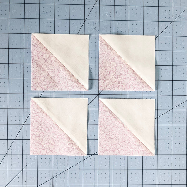 4 at a time HST tutorial - easy to follow with lots of pictures - by Julie of Running Stitch Quilts