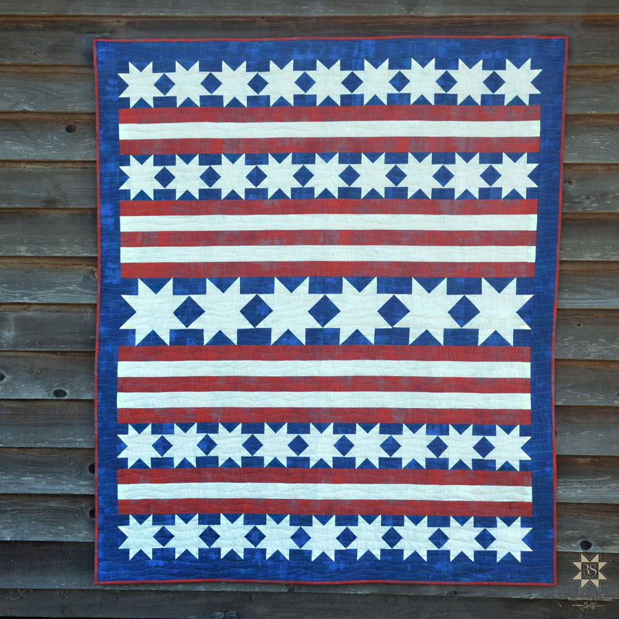 Patriotic quilt pattern perfect for Fourth of July!