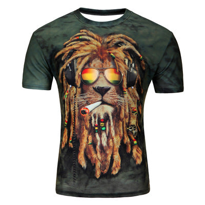 2015 European and American fashion in summer 3D printing lions male short sleeved T-shirt 3D T-shirt wholesale