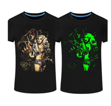 New luminous men's short-sleeved T-shirt Personality men's 3D printed round neck T-shirt