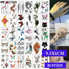 Personality geometric English letters flowers fashion tattoo stickers