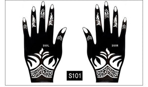 Mehndi Henna Cone and Full Stencil Set Women Fashion Temporary Tattoo