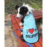 100% Cotton I Love Mommy Dog T Shirts - Blue / 3XL