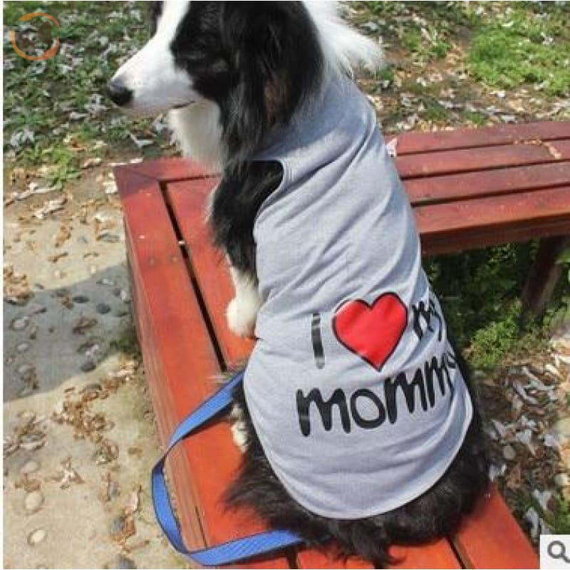 100% Cotton I Love Mommy Dog T Shirts - Grey / 3XL