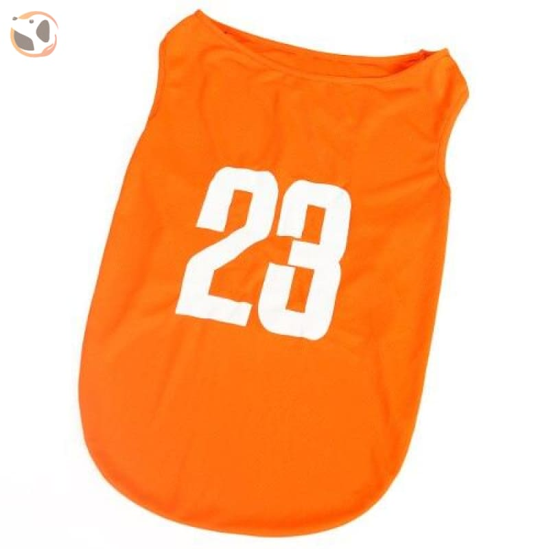 23 Number Breathable Dog Jersey - Orange / 3XL