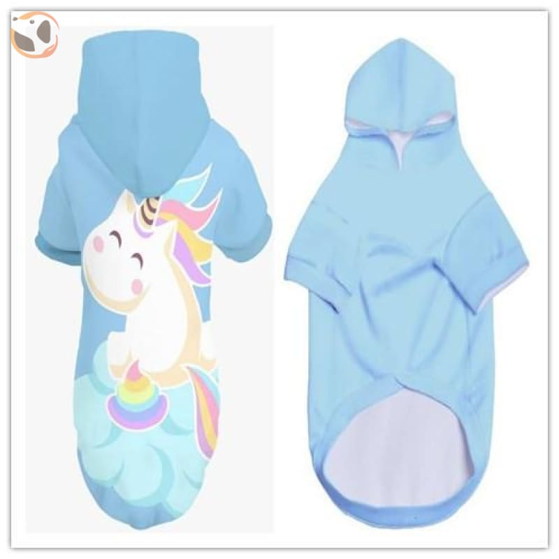 3D Hd Printed Cool Dog Hoodies - White Unicorn / S
