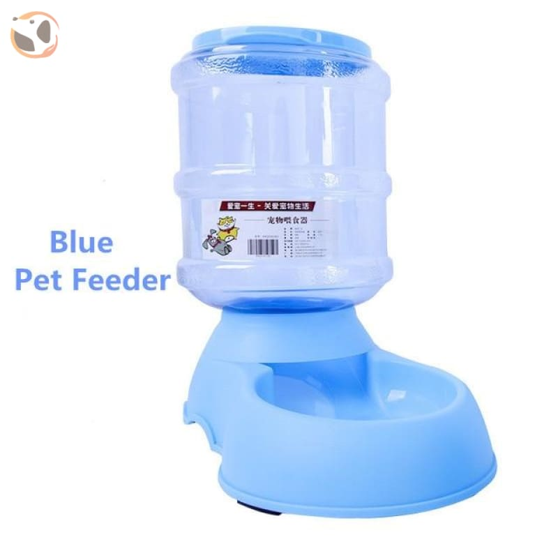 Automatic Self-Dispensing Pet Waterer And Feeder - Blue Food Feeder / L