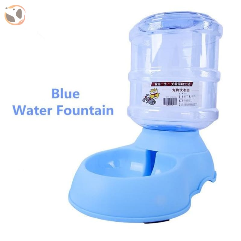 Automatic Self-Dispensing Pet Waterer And Feeder - Blue Water Fountain / L