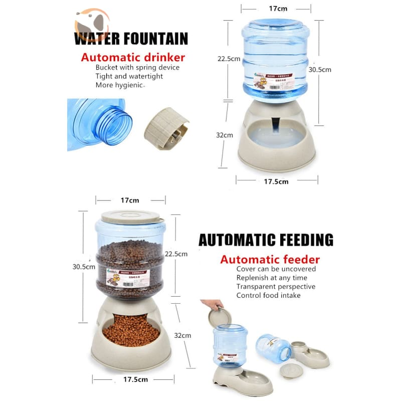Automatic Self-Dispensing Pet Waterer And Feeder