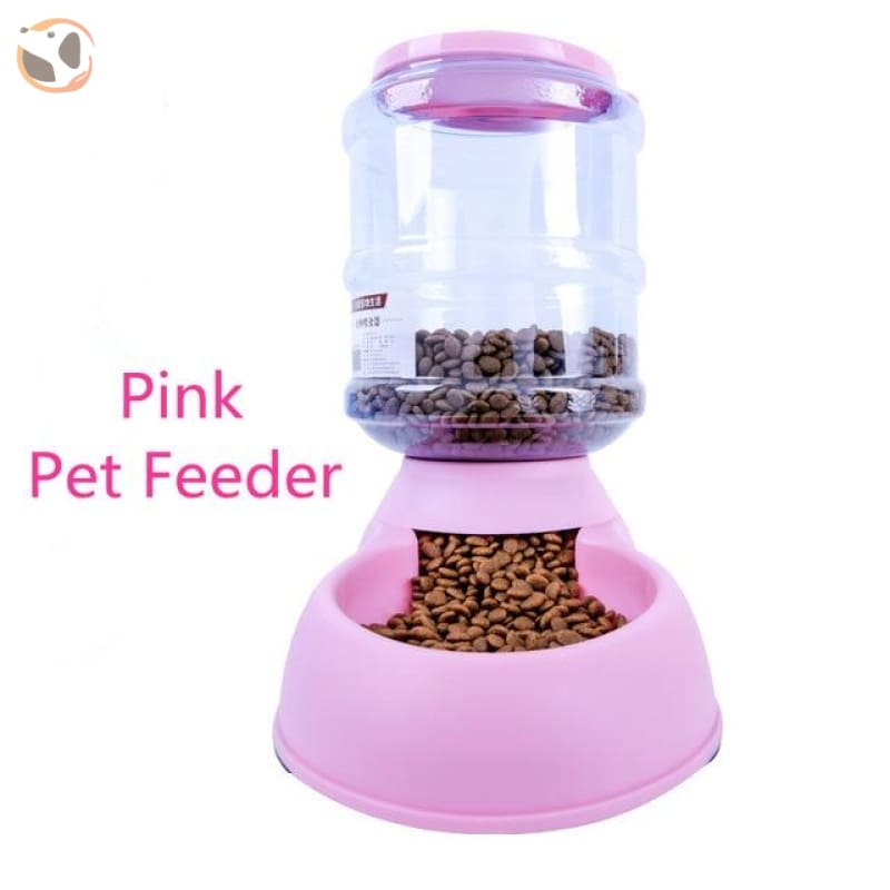 Automatic Self-Dispensing Pet Waterer And Feeder - Pink Food Feeder / L