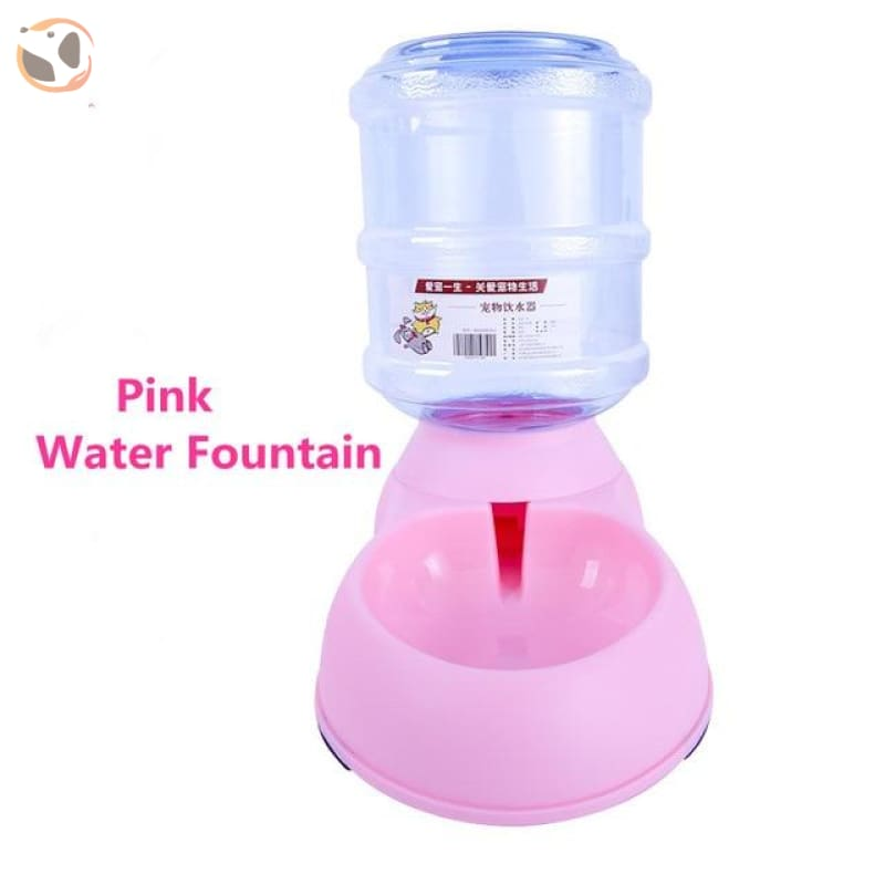 Automatic Self-Dispensing Pet Waterer And Feeder - Pink Water Fountain / L