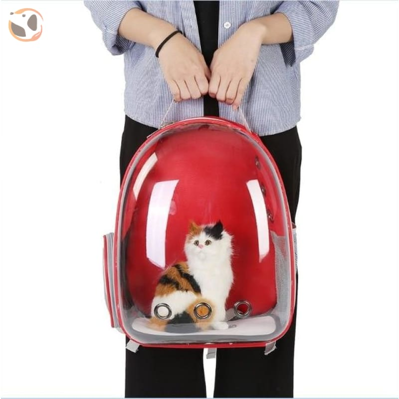 Breathable Cat Carrier Backpack - Red