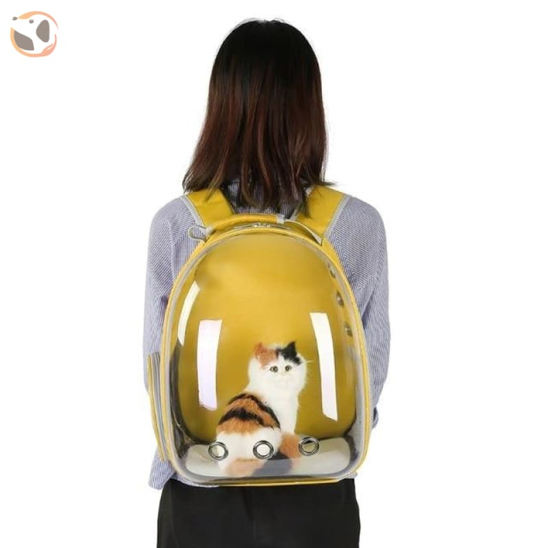 Breathable Cat Carrier Backpack - Yellow