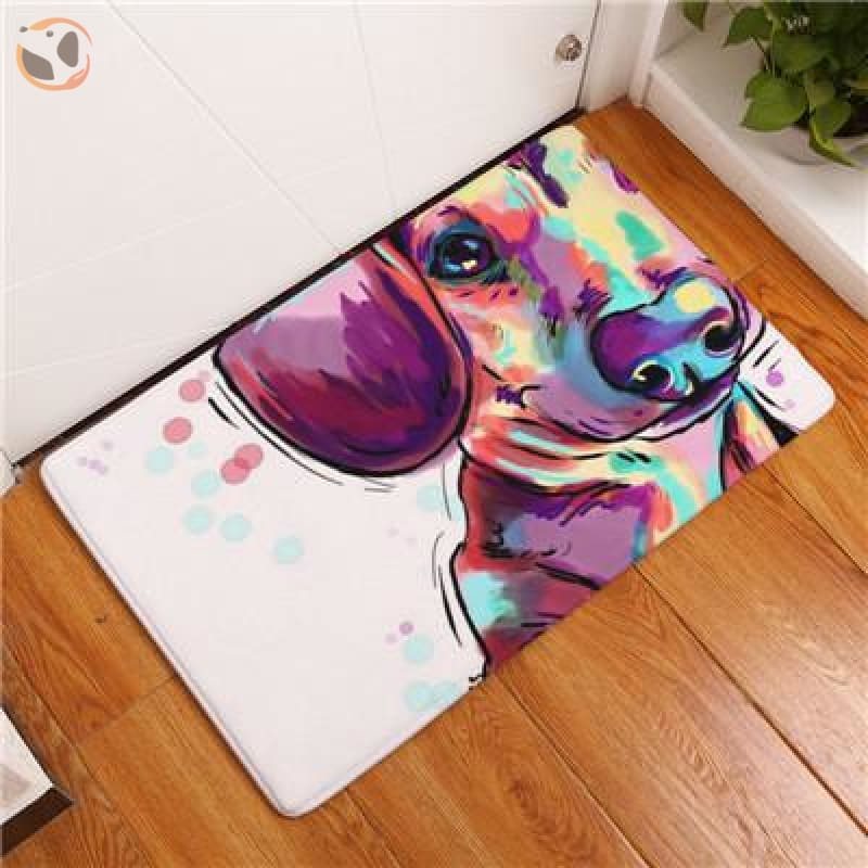 Cartoon Style Dog Painting Anti-slip Floor Mat - American Foxhound / 20X32 Inch