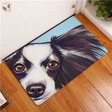 Cartoon Style Dog Painting Anti-slip Floor Mat - Border Collie / 20X32 Inch