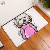 Cartoon Style Dog Painting Anti-slip Floor Mat - Coton de Tulear / 20X32 Inch