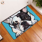 Cartoon Style Dog Painting Anti-slip Floor Mat - French Bulldog / 20X32 Inch