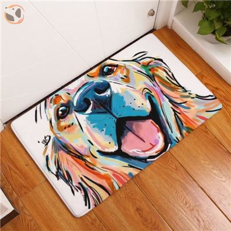 Cartoon Style Dog Painting Anti-slip Floor Mat - Golden Retriever / 20X32 Inch