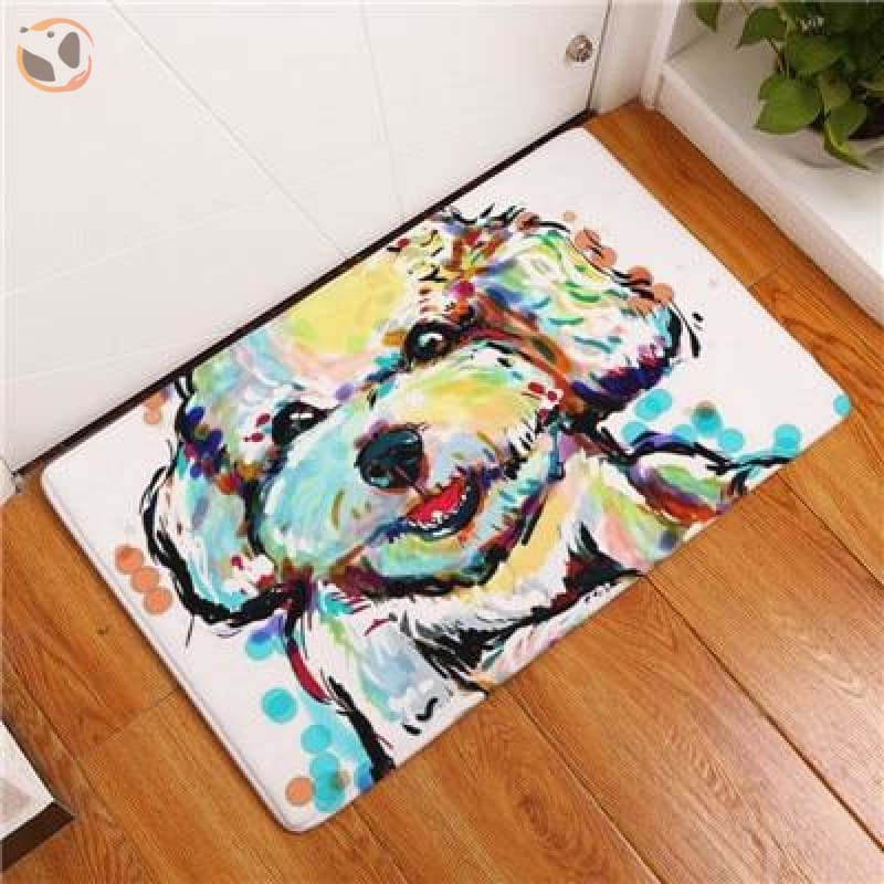 Cartoon Style Dog Painting Anti-slip Floor Mat - White Terrier / 20X32 Inch