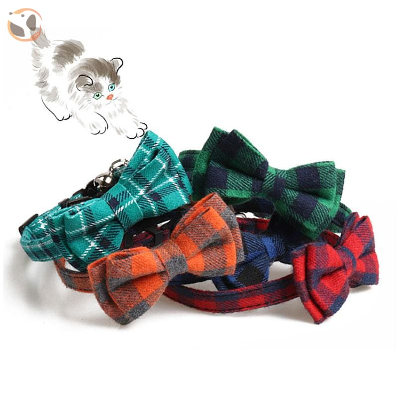 Colorful Plaid Cat Bow Tie Collar
