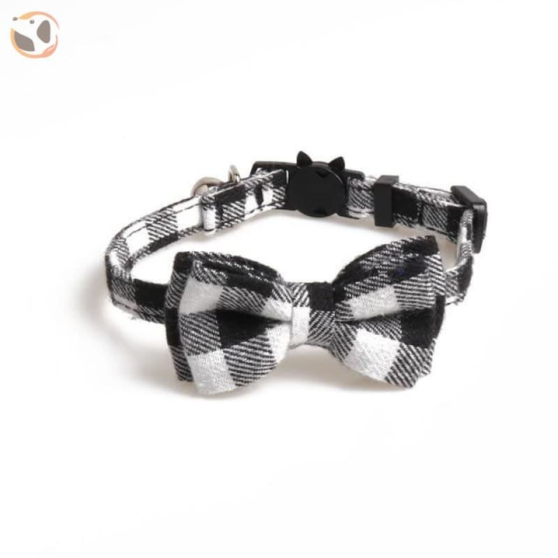 Colorful Plaid Cat Bow Tie Collar - gray