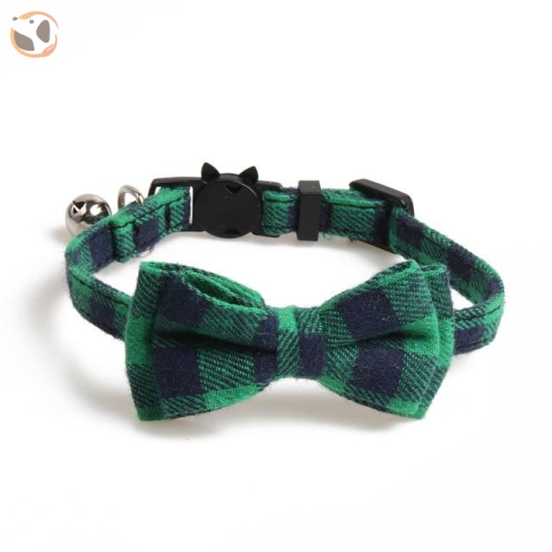 Colorful Plaid Cat Bow Tie Collar - green