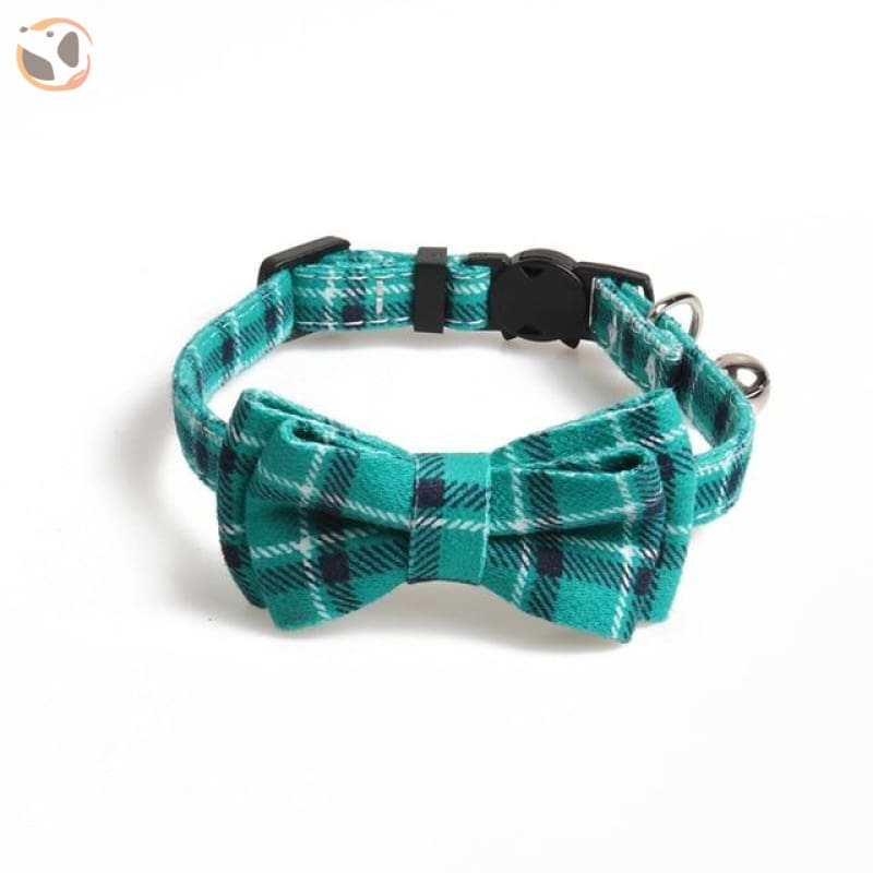 Colorful Plaid Cat Bow Tie Collar - light green