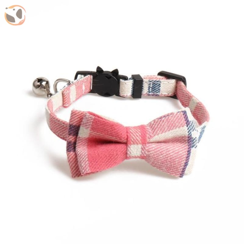 Colorful Plaid Cat Bow Tie Collar - pink