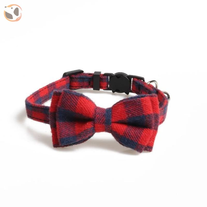 Colorful Plaid Cat Bow Tie Collar - red