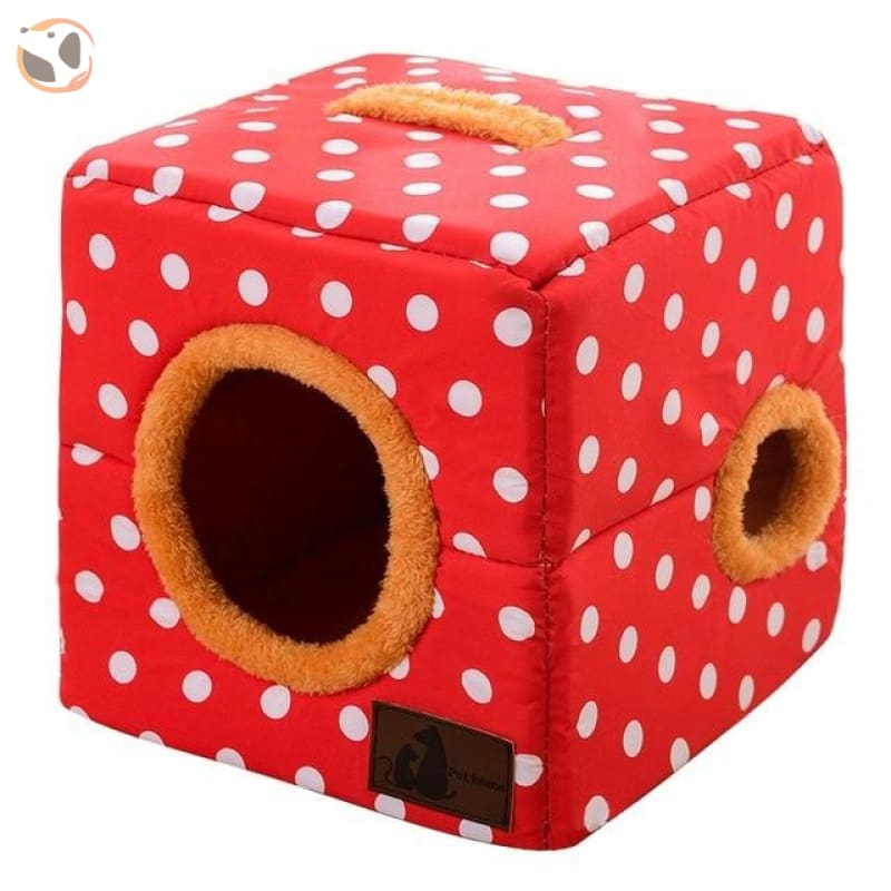 Comfortable Cotton House for Small Pets - Red / 18.11 inches