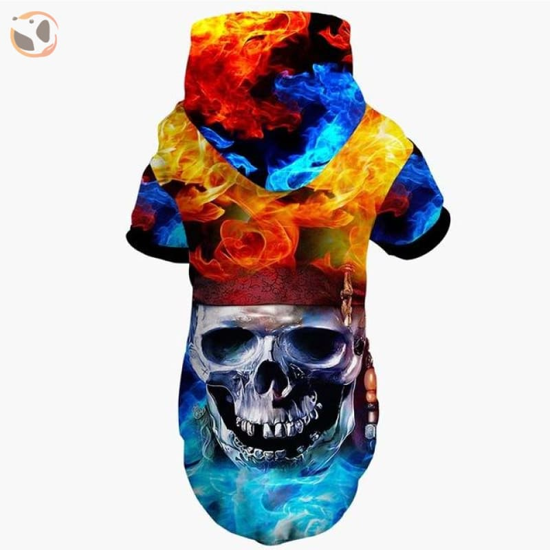 Cool Soft 3D Printed Dog Hoodie With Leash Hole - Colorful Skull / S