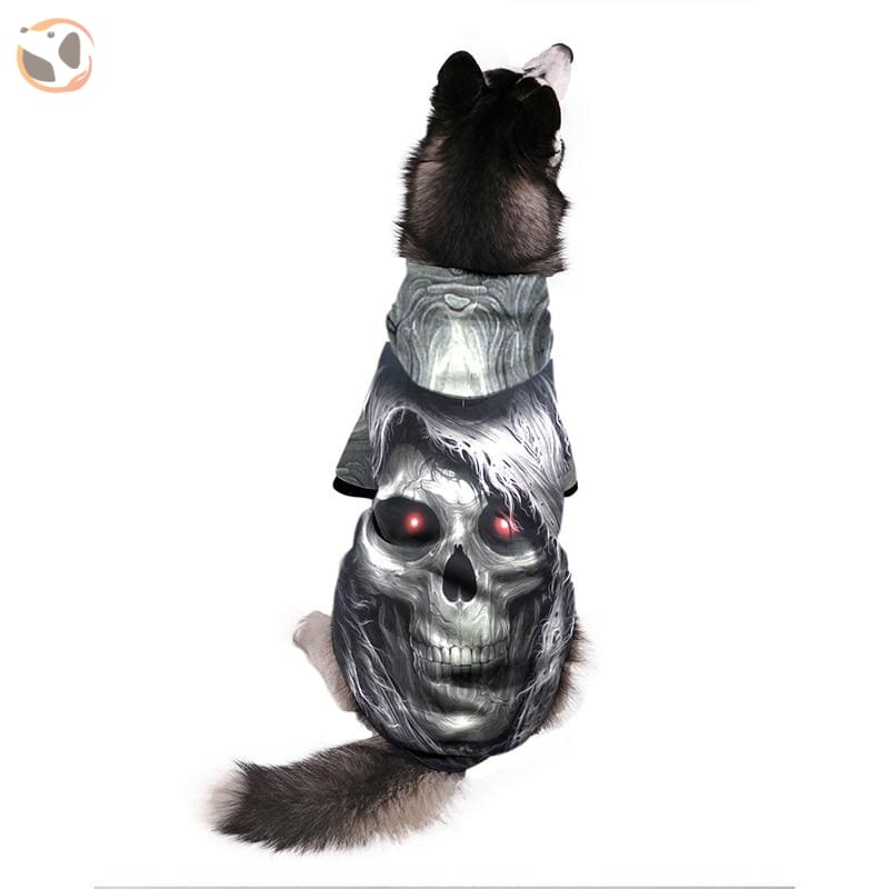Cool Soft 3D Printed Dog Hoodie With Leash Hole - Grey Skull / S