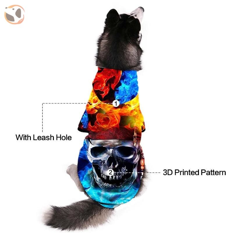 Cool Soft 3D Printed Dog Hoodie With Leash Hole