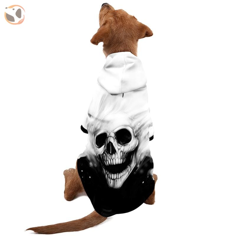 Cool Soft 3D Printed Dog Hoodie With Leash Hole - White Skull / S