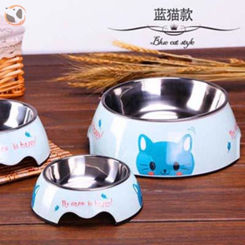 Cute Cartoon Animal&Floral Printed Dog Bowls - Blue Cat / L