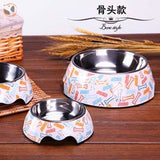 Cute Cartoon Animal&Floral Printed Dog Bowls - Bone / L