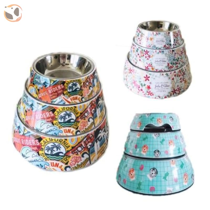 Cute Cartoon Animal&Floral Printed Dog Bowls
