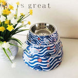 Cute Cartoon Animal&Floral Printed Dog Bowls - Dolphin / L