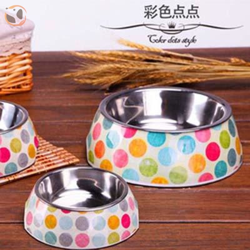 Cute Cartoon Animal&Floral Printed Dog Bowls - Dotted / L