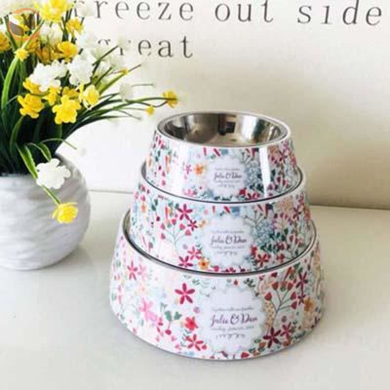 Cute Cartoon Animal&Floral Printed Dog Bowls - Floral / L
